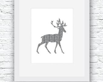 Winter Deer Printable Art, Black and White Art, Burlap Art, DIY Print, Winter Wall Decor, Modern Wall Art