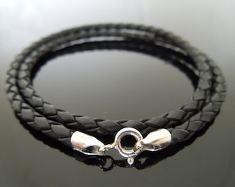 3mm Black Braided Leather & Sterling Silver Cord Necklace 20""