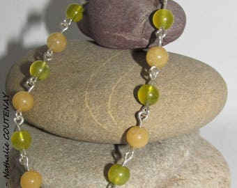 Handmade bracelet Aragonite, Jade Serpentine and sterling silver 935