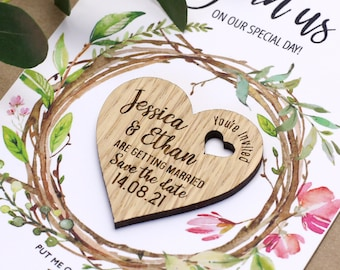 Save The Date Magnet with Cards, Personalised Heart Wedding Invitation Spring Summer Rustic Save the Date, Wooden Save The Date, Garden