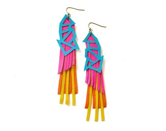 Statement Earrings, Hot Pink Earrings, Leather Earrings, Neon Earrings, Turquoise Earrings, Tropical Earrings, Long Earrings, Bold Earrings