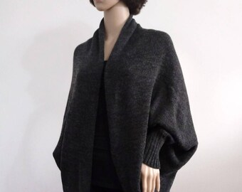 Coat women  grey Batwing Cardigan gray Wool Jacket  Jacket  Knit loose clothes wrap Boho Cocoon coat jacket