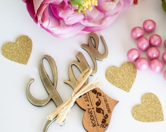 50 x Love Bottle Opener with Wooden Gift Tag & Raffia Tie