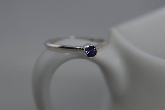 Sterling Silver Gemstone Ring - 3mm Iolite Ring - Stacking Gemstone Ring