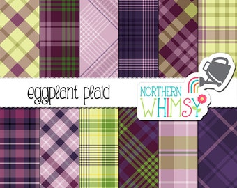 "Dark Purple Plaid Digital Paper - ""Eggplant Plaid"" - diagonal & seamless plaid patterns for graphic design or scrapbooking - commercial use"