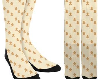 Gingerbread Men Crew Socks - Holiday Socks - Cookie Socks - Christmas Socks -Unique Socks - Novelty Socks - Cool Socks - FREE Shipping D74