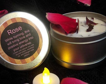 Positive energy natural rose scented candle