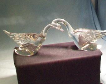 Two Heisey Mallard Ducks Wings Back Figurines