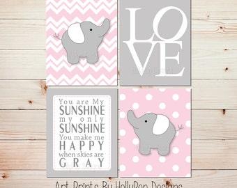 Pink Gray Nursery Art Elephant Nursery Prints Pink Nursery Wall Decor Toddler Girls Room Art You are My Sunshine Wall Decor LOVE print  0721