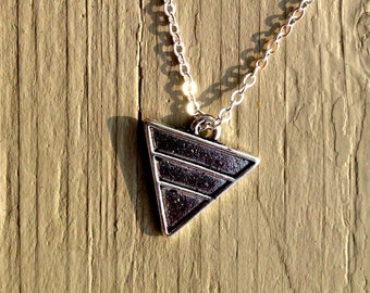 triangle necklace, silver triangle necklace, triangle jewelry, triangle pendant, triangle, geometric, geometric necklace, silver necklace