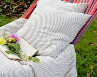 Striped handmade pure stonewashed natural linen pillow case/ traditional pillow/ white linen throw/ white linen cushion/ softened linen/