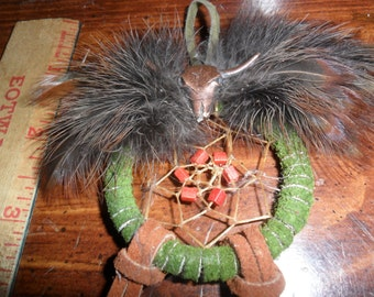 Natural Feather Dream Catcher - Turkey and Guinea feathers