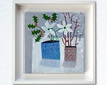 Christmas art, original framed painting, 'Snowberries and Holly 2', small acrylic still life, modern style Xmas picture, holiday gift