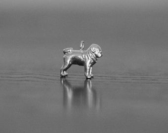 Sterling Silver Pug Charm, Silver Pug Pendant