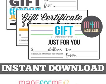 "INSTANT Download |  R+F Gift Certificates | Set of 3 4"" x 8"" | Mac & PC | Skinvitation, Aging, R+F, Rodan Fields, Flyer"