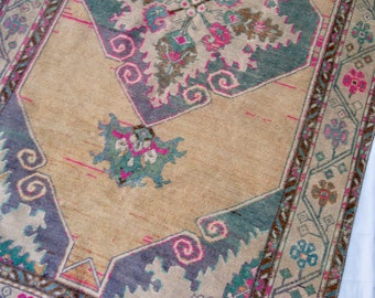 "10'10""x3'5"" Golden Beige, Teal, and Pink Vintage Turkish Runner"