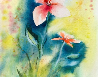 Original watercolor of red flowers in the garden in the sun - original painting of twi red and white flowers - floral art