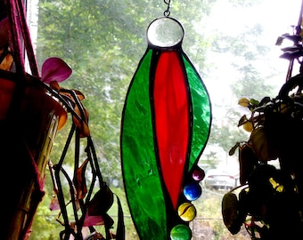 Stained Glass Sun Catcher With Glass Jewels