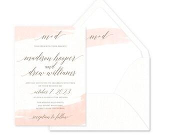 Watercolor Swash Wedding Invitations