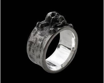 Skull Ring - Sterling Silver Crossbones Skull ring band - All Sizes availables
