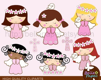 Angel Girls and Dove. Baptism. Comunion. Christening. Soft Pink. PNG Digital Clipart Set. Personal and Commercial Use* INSTANT DOWNLOAD