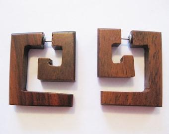SALE Brown wooden fake gauge - square