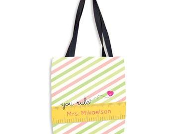 You Rule  | Custom Teacher Tote | Personalized Teacher Tote Bag | Monogrammed Teacher Tote Bag | Customized Teacher Tote
