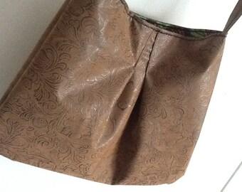 Western Brown Vegan Leather Pleated Shoulder Hobo Bag/Purse