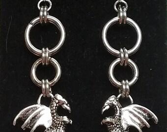 Handmade Chainmaille Dragon Charm Earrings