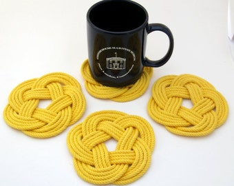 Woven Nautical Coasters Yellow turks head weave 4 pack