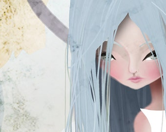 "5x7 Fine Art Print - ""Melt"" - Small Sized Fine Art Giclee Print - Jessica von Braun artwork - Long haired girl - Goddess Art - Fantasy Art"