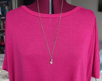 Long Silver Rose and Love Necklace