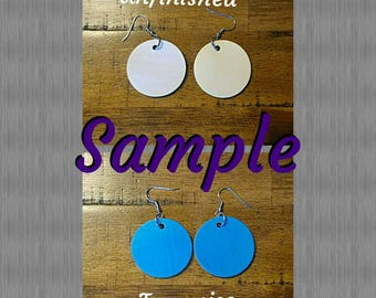 Glitter Round Wooden Earrings- Design It Your Way (DIYW)- (1.5 inch) - Qty :1