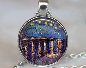 Starry Night over the Rhone necklace, Van Gogh necklace, Van Gogh art jewelry night sky pendant, Starry Night pendant key ring key chain fob