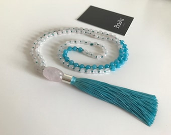 Mala beads - 108 Mala necklace - prayer beads - meditation beads - yoga beads - gemstone mala - rose quartz - blue quartz - tassel necklace