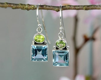 Forget-Me-Not Sterling Silver Blue Topaz & Peridot Dangle Earrings/ Square / Flower / Natural Stone