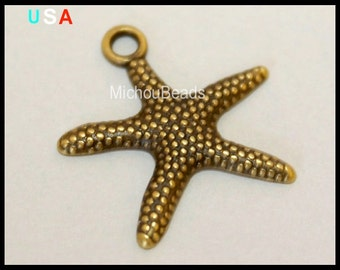 5 ANTIQUED Bronze Gold STARFISH Charm Pendants - 19mm Stars Ocean Beach Boho Nautical Charms - USA Wholesale Charms - Instant Ship - 5499