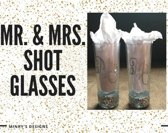 Custom Mr & Mrs Tall Shot Glass Set -Glitter Stems and Many Color Options - Bridal Gift - Bride and Groom