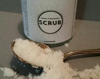 Lemon & Geranium Scrub, Cane sugar scrub, All-Natural Sugar Scrub, Body Polish, Facial Scrub