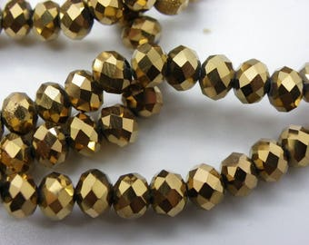 50 6 mm abacus has shiny Pearly bronze faceted crystal glass beads