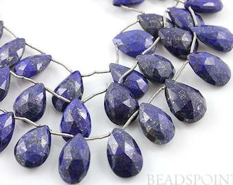Natural Blue Lapis Lazuli, Small Faceted Pear Drops, AAA Quality Gemstones 9x13 to 9x15mm, 1 Strand, (LAP9x14PEAR)