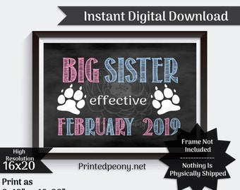 Big Sister Dog  Chalkboard Pregnancy Announcement Pet Pregnancy Reveal Due in February Baby Announcement Photo Prop Digital Download