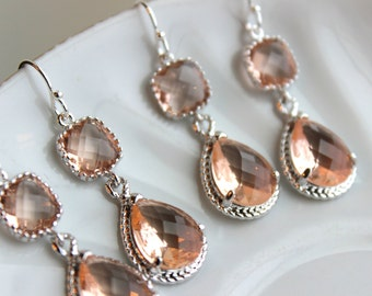 READY TO SHIP 10% Off Set of 3 Wedding Jewelry Bridesmaid Earrings Bridal Bridesmaid Two Tier Champagne Blush Earrings Peach Silver Teardrop