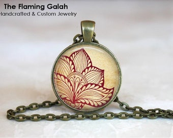 HENNA FLOWER Pendant • Beautiful Indian Art •  enna BoHo Chic • Indian Wedding • Henna Mandala • Gift Under 20 • Made in Australia (P1321)