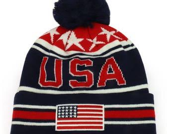 NEW USA American Flag Embroidered Pom Pom Cuff Beanie Hat (WB082-USA)