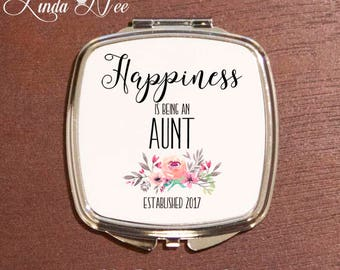 Happiness is being an AUNT Compact Mirror,  Aunt Flower Pocket Mirror, Personalized Makeup Mirror, Aunt Birthday Mother's Day Gift Mom XPH11