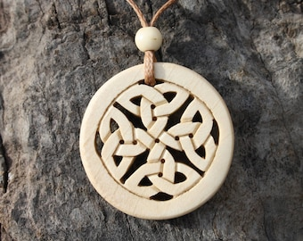 Unique Celtic Knotwork Jewelry, Hand Carved Celtic Eternity Knot Necklace, Irish Holly Wood Infinity Knot Pendant, Handmade In Ireland