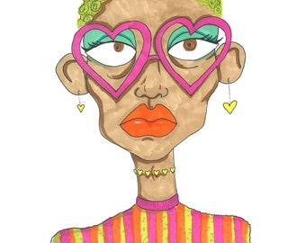 Cool Glasses Girl A4 Art Print / hand drawn illustration done using promarkers then digitized and professionally printed