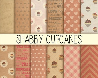 Shabby Cupcakes - Instant Download - Set of 12 - 12x12 inch - Digital Paper Pack - Scrapbooking, Web design, Card making