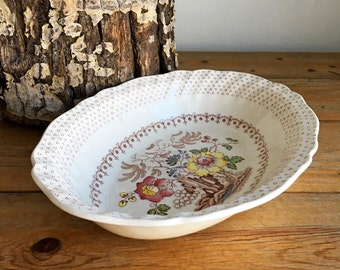 Vintage Oval Bowl/Royal Doulton Grantham/Royal Doulton China/Grantham D 5477/White Ceramic Vegetable Bowl/Floral Serving Bowl/ Oval Bowl